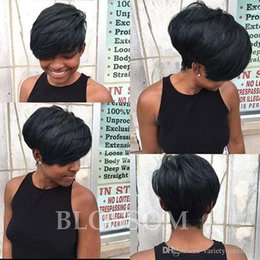 straight lace front wig cheap UK - Cheap Brazilian Full Lace Glueless Human Lace Front Bob hair Wig None Lace Wig Short wig For Black Women