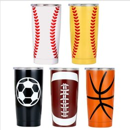 cartoon beer mugs NZ - Baseball Tumbler Mugs Travel Car Beer Cups Vacuum Insulated Cups Double Stainless Steel Tumbler Mugs Softball Basketball Footbal Mug DHC97