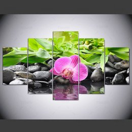 wall art purple canvas frame NZ - 5 Panel Modern Orchid, Purple Stone Hd Art Print Canvas Art Wall Framed Paintings for Living Room Wall Picture Kn-494