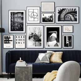 paris street paintings Australia - Wall Art Canvas Painting Paris Street Girl Black White Photo Nordic Posters And Prints Wall Pictures For Living Room Salon Decor
