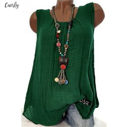womens linen clothing plus size UK - Summer Top Tiered Womens Cotton Linen Sleeveless Baggy T Shirt Vest Tee Tank Tops Plus Size Cropped Feminino Women Clothes 2020