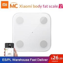 Nova chegada Xiaomi Mi inteligente Body Fat Scale 2 Com Composição Mifit APP corpo monitor com LED escondido exibição Fat Scale em Promoção
