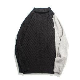 Wholesale men s black turtleneck sweater resale online – Turtleneck Men Patchwork Knitted Sweaters Sweater Oversize Men Clothing Hip Hop Streetwear Pullovers