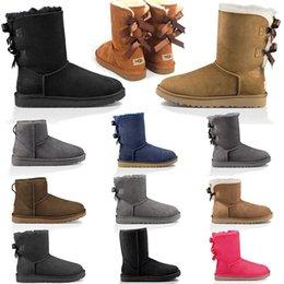 Wholesale black faux leather tops resale online - 2020 Top Snow Boots Women Boots Short Mini Classic Knee Tall Winter Boots Designer Bailey Bow Ankle Bowtie Black Grey Shoes SIZE