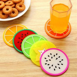 Wholesale Cup Mat Pads Fruit Pattern Colorful Silicone Round Cup Cushion Holder Thick Drink Tableware Coaster Mug YYA175