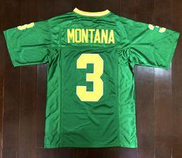 Доставка от US Mens 1977 Винтаж Joe Montana College Футбол Майки Зеленый # 3 Джо Монтана Швы Футбольные Рубашки S-3XL на Распродаже