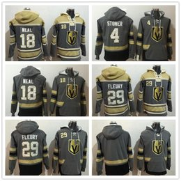 ingrosso hoodies grigio-2018 uomini felpa da uomo Las Vegas Golden Knights Marc Andre Fleury James Neal Blank Grey Yellow Hockey Hoodie Top Quality