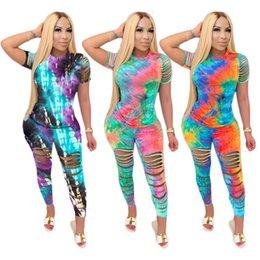 Wholesale linen women trousers resale online – Women Tie Dyed Flower Two piece Set Fashion Hollow Print T Shirt Trousers Suit Plus Size Long Pants Ladies Casual Wear Cy13