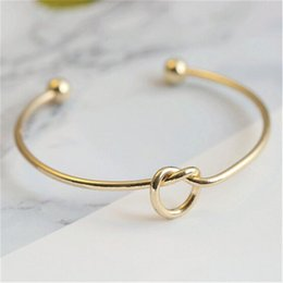 wire adjustable bangle wholesale Canada - New Vintage Alloy Adjustable Bangles Expandable Open Wire Bangles Love Knot Bangles Women Men Wedding Cuff Bracele 8 Colors