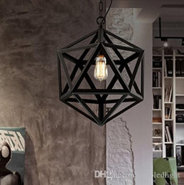 restoration lighting NZ - Restoration Hardware Vintage Pendant Lamp Loft Pendant Lights Diamond Steel Polyhedron Pendant Lamp Bar Living room E27 Bulb
