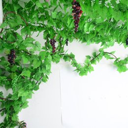 plastic green leaf vines Canada - 2M Green Ivy Vine Delicate Artificial Ivy Leaf Garland Plastic Simulation Plant Vine Foliage Home Wedding Parties Decor Supplie