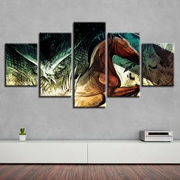 canvas prints horses Australia - Abstract HD Art Picture Printed 5 Pieces Animal Horse And Eagle Green Eye Scenery Canvas Paintings Modular Home Wall Decoration