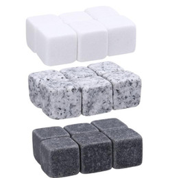 Wholesale Whisky stones 6pc Bag Ice Cubes Glacier Cooler Stone Whiskey Rocks Ice Stone Barware Supplies Kitchen Bar tools Toys GGA3591-1