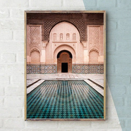 worlds famous painting NZ - Modern Nordic Morocco Door Vintage Posters World Famous Architecture Art Pictures Printed Living Room Canvas Painting Home Decor 94Qh#
