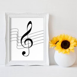 Wholesale piano print online – design Music Notes Print Music Piano Teacher Gift Modern Minimalist Black and White Picture Canvas Painting Decoration Home Wall Decor