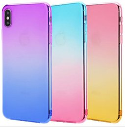 free cellphone cases Australia - Gradient Dual Color High Quality Transparent TPU Phone Case Back Cover for iPhone 6 7 8 Plus X XS Max XR 5S Samsung Cellphone Case DHL Free