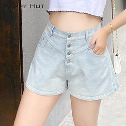 hot pants korean style summer Canada - uCRvc Large size shorts 2020 Summer Shorts pants hot pantsnew micro fat women's clothing Korean-style one-breasted high waist denim wide leg