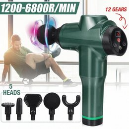 battery massages NZ - 12 Gear Therapy Massage Guns 5 Head Muscle Massager LED Digital 3600mAh Battery 1200 6800r Min Pain Relax Massage Body Massager 8JLh#