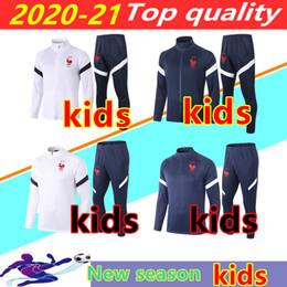 Vente en gros 2020 2021 FR MBappe Kids Football Jacket Squksuit Survèlement 20/21 Griezmann Kante Pogba Enfant Maillot de Foot Formulaire Jogging Chandal