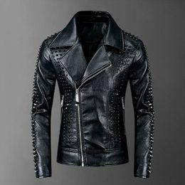 Wholesale men leather jackets for sale - Group buy High Quality Rivet Leather Jacket Men Punk Rock Faux Leather Men Coat XXXL