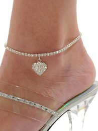 sandals anklets Canada - Summer Beach Heart Foot Anklet Fashion Rhinestone Chain Anklet Full Diamond Anklets Bracelet Sexy Barefoot Sandal Foot for Lady Jewelry