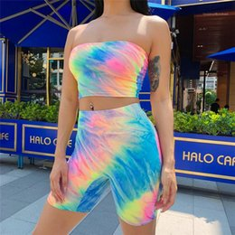 sexy sports tubes UK - Suits Women Fashion Casual Sport Sets Womens Sexy 2PCS Summer Tracksuits Woman Tube Top Rainbow Tie Dye Slim