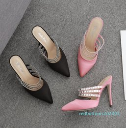 pink shoes rhinestones NZ - with box size 5 to 41 adorable rhinestone wedding shoes pink black fashion luxury designer women shoes r03