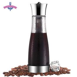 Großhandel Kaffeemaschine Pot Mokka kaltes Gebräu Cafetera Filter Kaffeekanne Leakproof Dickes Glas Tee-Percolator Werkzeug Espressomaschine T200523