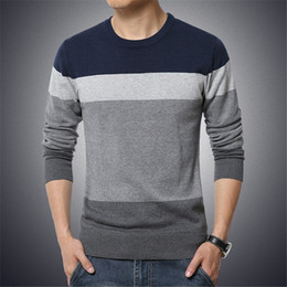 Wholesale mens casual slim fit sweaters for sale – oversize Autumn Casual Mens Sweater O Neck Long Sleeve Striped Slim Fit Knittwear Business Style Men Pullover Tops