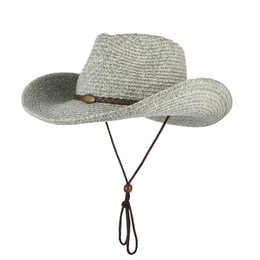 wind straw NZ - GEMVIE Western Cowboy Sun Wind Lanyard For Men Women Wide Brim Straw Hat Beach Panama Fishing Fisherman Cap Summer Hats Y200716