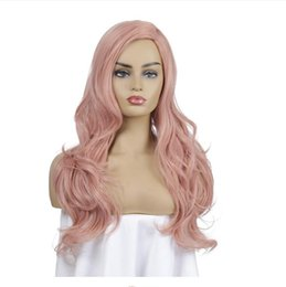 pink lace wigs Australia - Hair Wigs European American Cosplay noble princess pink long curly hair headgear chemical fiber wig rose hair net