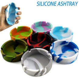 ashtray for wholesale Canada - Silicone Ashtray Round Mini Ashtray Portable Ash Holder Case Colorful Pattern Environmental Hotel For Home KTV Ashtray CCA12325 60pcs