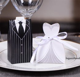 european wedding tuxedo NZ - 100Pcs (50pairs) European Style Tuxedo Dress Bride & Groom Wedding Favors Candy Boxes Bomboniera Party Gift Boxes With Ribbons LZ0082