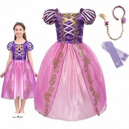 princess baby frocks UK - Girls Princess Rapunzel Dress Up Dresses Baby Summer Cosplay Party Costumes Little Child Tangled Role Playing Frocks For Girl i136#