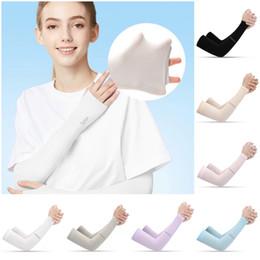 Спорт на открытом воздухе Мода Ice Шелковый рукава Ice Прохладный Дыхание Солнцезащитный рукава Летние перчатки для мужчин женщин езда Обучение митенки на Распродаже