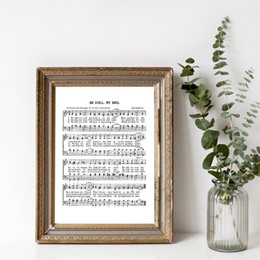 Discount christian frames Retro Sheet Music Poster Be Still My Soul Hymn Print Christian Wall Art Canvas Painting Pictures for Living Room Bedroom Wall Decoration