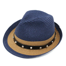 up brim straw hat Australia - Mistdawn Unisex Upturn Roll-up Brim Fedora Plastic Straw Tilby Cap Summer Beach Outdoor Sunhat Jazz Top Hat with Belt Buckle