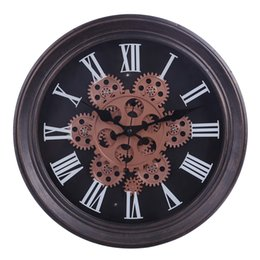gear live Australia - 2019 Unique 33cm Moving Gear Mute Retro Wall Clock Battery Operated Hanging Clock For Living Room Home Office Decor Best Gift