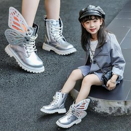 wide shoes children Australia - Autumn Winter Child Shoes PU Leather Waterproof Wing Martin Boots Kids Snow Boots Brand Girls Boys High Boots Fashion Sneakers