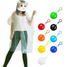 raining plastic ponchos Canada - Spherical Raincoat Plastic Ball Keychain Disposable Poncho Rainwear Portable Trip Hiking Square Cape Rain Coats OOA8080