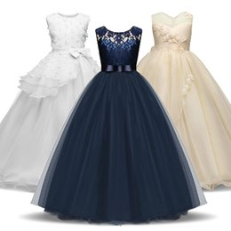 Discount long evening gowns for kids Vintage Bow-Knot Girls Dress For Wedding Evening Children Princess Party Pageant Long Gown Kids Dresses For Girls Formal