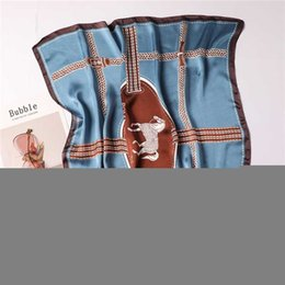 horse print scarf wholesale UK - 2020 Women Silk Scarf Neck Hair Band Square Scarves Animal Horse Print Lady Small Shawls and Wraps Foulard Head Kerchief