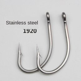 sea basses Australia - Stainless steel fishhook bulk large thick barbed anti-rust tube with ring black fish Bass Bass stone spot sea fishing hook