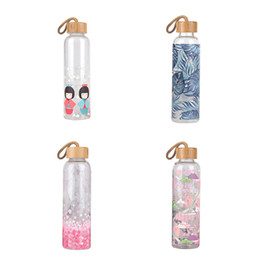 bamboo drink glasses UK - 550ml Glass Water Bottle Portable Water Bottles With Bamboo Lid Rope Japanese Style Sport Outdoor Drinking Cup