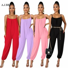 jumpsuits suspenders NZ - European and American summer new leisure solid color suspender Jumpsuit fashion loose U-neck sleeveless women's Vest pants