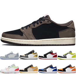 mens low 1s 1 womens basketball shoes Black Mystic Green Island Green Black Cyber Triple White Grey Toe Military Themed chaussures on Sale