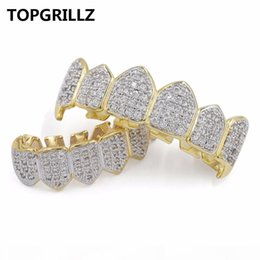 teeth fangs UK - TOPGRILLZ Hip Hop GRILLZ Iced Out Zircon Fang Mouth Teeth Grillz Caps Top & Bottom Grill Set Men Women Vampire Grills