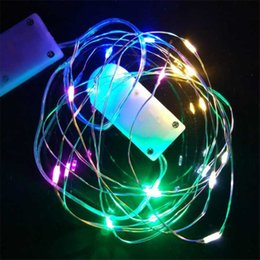 wholesale copper lanterns UK - Christmas Tree Decoration 2M 20LED Button CR2032 Battery Box Copper Light String Lights Festival Bright LED Lantern Free DHL ldh14
