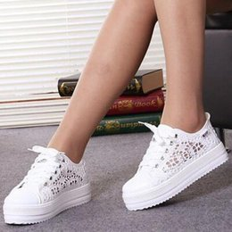 lace cutout platform Australia - Summer Women Shoes Casual Cutouts Lace Canvas Shoes Hollow Floral Breathable Platform Flat Shoe Zapatos de mujer 2019 Y200801