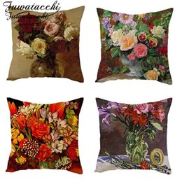 pink color cushion covers UK - Fuwatacchi Linen Material Floral Cushion Cover Colorful Bouquet Throw Pillow Cover Roses Chrysanthemum Rose Flowers Pillowcases